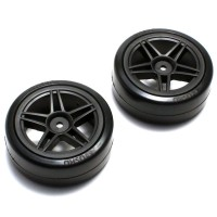 KYOSHO - DRIFT REAR PRE-GLUED TYRES FAZER 1:10 ON BLACK RIMS (2) FAT303BK