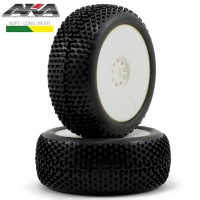 AKA - 1:8 BUGGY I-BEAM (SOFT - LONG WEAR) EVO WHEEL PRE-MOUNTED WHITE (2) AKA14001XRW