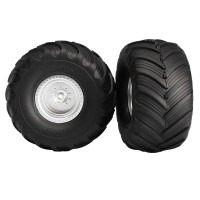 TRAXXAS - TIRES & WHEELS GLUED ON SATIN CHROME WHEELS, TERRA GROOVE DUAL PROFILE TIRES (2) 3663
