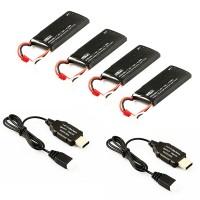 HUBSAN - PACK BATTERIES H502E/S (4 X BATTERIES + 2 CHARGEUR USB ) H502-21