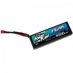 POWER PLANT - BATTERIE LIPO PEAK RACING 4000 11.1V 45C (BLACK CASE, DEANS PLUG) 12AWG PEK00552