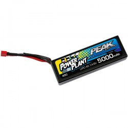 POWER PLANT - BATTERIE LIPO PEAK RACING 5000 4S-14.8V 45C (BLACK CASE, DEANS PLUG) 12AWG PEK00555