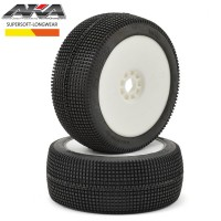 AKA - 1:8 BUGGY ZIPPS (SUPER SOFT - LONG WEAR) EVO WHEEL PRE-MOUNTED WHITE AKA14020QRW