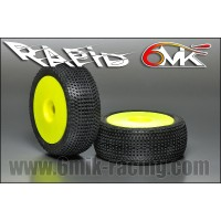 6MIK - TYRES 1/8 BUGGY RAPID GLUED ON YELLOW RIMS COUMPOUND 0/18° TDY100018