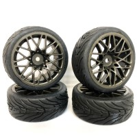 FASTRAX - 1/10 STREET/TREAD TYRE STAR SPOKE GUN METAL WHEEL FAST0089GM