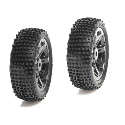 MEDIAL PRO TIRES VIPER 2.2 MOUNTED ON TITAN 2.2 BLACK WHEELS FRONT (2PCS) TRAXXAS MP-5315