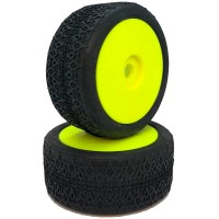 6MIK - MISTIK TYRES GREEN GLUED ON YELLOW RIMS (2) TDY13V