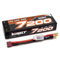KONECT - LIPO 7.4V 7200MAH 50C 2S2P (SLIM PACK DEANS ) KN-LP2S7200