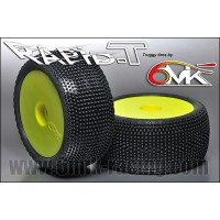 6MIK - TYRES 1/8 TRUGGY RAPID-T GLUED ON YELLOW RIMS COUMPOUND 15/25° / ULTRA TUY111525