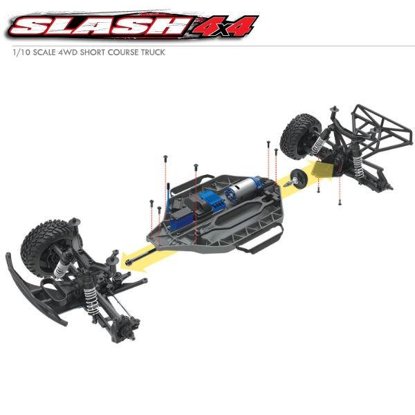 TRAXXAS - SLASH 4X4 BRUSHED TQ 2 4GHZ ID RTR 68054-1