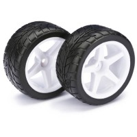 "ABSIMA - WHEEL SET BUGGY ""5-SPOKE / STREET"" REAR WHITE 1/10 (2) 2500008"