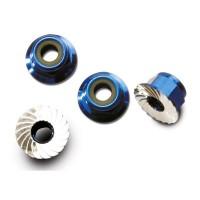 TRAXXAS - NUTS ALUMINUM FLANGED SERRATED (4MM) (BLUE-ANODIZED) (4) 1747R