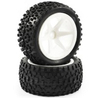 FASTRAX - 1/10TH MOUNTED CUBOID BUGGY REAR TYRES 6-SPOKE FAST0039S