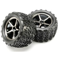 TRAXXAS - PRE-MOUNTED TALON TIRES W/GEMINI WHEELS (BLACK CHROME) (2) 7174A
