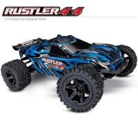 TRAXXAS - RUSTLER 4x4 BLUE 1/10 STADIUM TRUCK ID TQ 2.4GHZ RTR 67064-1-BLUE