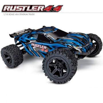 TRAXXAS - RUSTLER 4x4 BLEU 1/10 STADIUM TRUCK ID TQ 2.4GHZ RTR 67064-1-BLUE