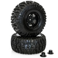 HOBBYTECH - 1/10 MONSTER TYRES BXR.MT PREMOUNTED ON BLACK RIMS HT-480