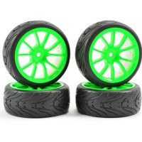 FASTRAX - 1/10 STREET/TREAD TYRE 10SP NEON GREEN WHEEL FAST0072G