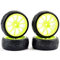 FASTRAX - 1/10 STREET/TREAD TYRE 10SP NEON YELLOW WHEEL FAST0072Y