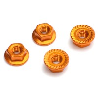 FASTRAX - M4 GOLD SERRATED ALUMINIUM LOCKNUTS 4PCS FTM4GS