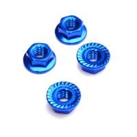 FASTRAX - M4 BLUE SERRATED ALUMINIUM LOCKNUTS 4PCS FTM4BS