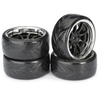 "ABSIMA - WHEEL SET DRIFT LP9 ""SPOKE / PROFILE A"" BLACK/CHROME 1/10 (4 PCS) 2510044"