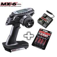 SANWA - COMBO RADIO MX-6 SUR ACCU + RECEPTEUR RX391 101A32574BAT