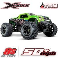 TRAXXAS - X-MAXX GREEN X 8S 4WD BRUSHLESS RTR MONSTER TRUCK W/2.4GHZ TQI RADIO & TSM 77086-4-GRNX
