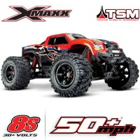 TRAXXAS - X-MAXX RED X 8S 4WD BRUSHLESS RTR MONSTER TRUCK W/2.4GHZ TQI RADIO & TSM 77086-4-REDX