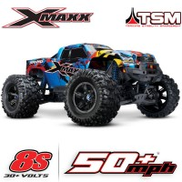TRAXXAS - X-MAXX ROCK N'ROLL 8S 4WD BRUSHLESS RTR MONSTER TRUCK W/2.4GHZ TQI RADIO & TSM 77086-4-RNR