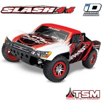 TRAXXAS - SLASH - 4x4 RED 1/10 BRUSHLESS - TSM - WIRELESS - iD W/O AQ/CHG 68086-4-RED