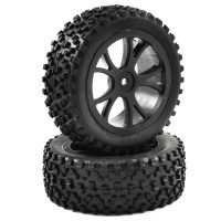 FASTRAX - 1/10TH MOUNTED CUBOID BUGGY FRONT TYRES 10-SPOKE FAST0036B