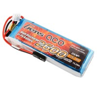 GENS ACE - RX BATTERY LIPO 2S-7.4V-2600 (JR PLUG) 92G - STRAIGHT GE6-2600S-2JR
