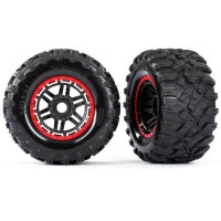 TRAXXAS - MAXX 2.8 ALL-TERRAIN PRE-MOUNTED TIRES (2) BLACK, RED BEADLOCK STYLE WHEELS 8972R
