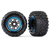 TRAXXAS - MAXX 2.8 ALL-TERRAIN PRE-MOUNTED TIRES (2) BLACK, BLUE BEADLOCK STYLE WHEELS 8972A