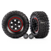 "TRAXXAS -TIRES AND WHEELS ASSEMBLED GLUED (2.2"" BLACK WHEELS, 2.2"" TIRES) BEADLOCK RINGS (2) 8874"