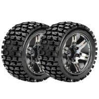 ROAPEX - PNEUS 1:10 ST TRACKER COLLES SUR JANTES CHROME BLACK 12MM (2) R2002CB2