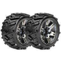 ROAPEX - STADIUM TRUCK 1:10 TYRE MORPH ON CHROME BLACK WHEELS 12MM (2) R2004CB2