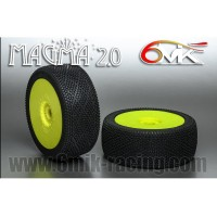 6MIK - TYRES 1/8 BUGGY MAGMA 2.0 GLUED ON YELLOW RIMS COUMPOUND GREEN TUY16V