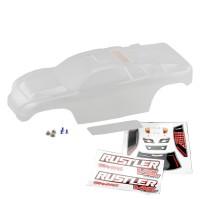 TRAXXAS - BODY RUSTLER (CLEAR REQUIRES PAINTING) DECAL SHEET/ WING AND ALUMINUM HARDWARE 3714