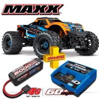 TRAXXAS - COMBON MAXX 4S 4x4 ORANGE 1/10 BRUSHLESS TQI TSM - AVEC AQ/CHG RTR COMBO-89076-4-ORNG