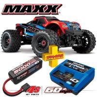 TRAXXAS - COMBO MAXX 4S 4x4 ROUGE X 1/10 BRUSHLESS TQI TSM - AVEC AQ/CHG RTR COMBO-89076-4-REDX
