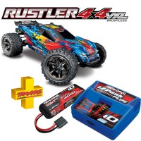 TRAXXAS - COMBO RUSTLER 4x4 RED 1/10 VXL BRUSHLESS TSM - W BAT/CH COMBO-67076-4-RED
