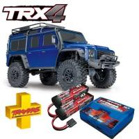 TRAXXAS - COMBO TRX-4 LAND ROVER DEFENDER BLEU RTR AVEC BATTERIES & CHARGEUR COMBO-82056-4-BLUE