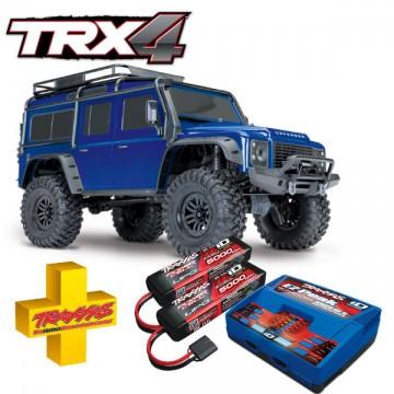 TRAXXAS - COMBO TRX-4 LAND ROVER DEFENDER BLUE W AQ/CHG RTR COMBO-82056-4-BLUE