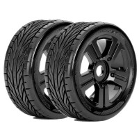 ROAPEX - BUGGY SLICKS 1:8 TYRE TRIGGER ON BLACK WHEELS 17MM (2) R5001B