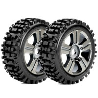 ROAPEX - BUGGY 1:8 TYRE RHYTHM ON BLACK CHROME WHEELS 17MM (2) R5002CB