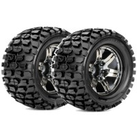 ROAPEX - MONSTER TRUCK 1:10 TYRE TRACKER ON CHROME BLACK WHEELS 12MM (2) R3002CB2