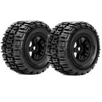ROAPEX - MONSTER TRUCK 1:8 TYRE RENEGADE ON BLACK WHEELS 17MM (2) R4001B