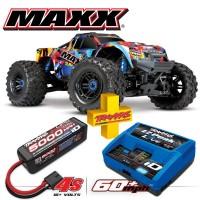 TRAXXAS - COMBO MAXX 4S 4x4 ROCK N'ROLL 1/10 BRUSHLESS TQI TSM - AVEC AQ/CHG RTR COMBO-89076-4-RNR